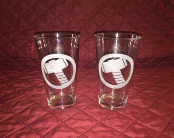 2 Hand Etched Thor Pint Glasses!