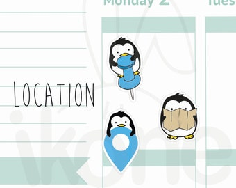 27 location Planner Stickers, Cute penguin Planner Stickers - kawaii penguin sticker