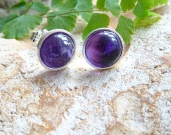 Amethyst Stud earring, silver bezel set, February Birthday, Purple Wedding, bridesmaid gift,  just for her, ideas for wife, Women's gift