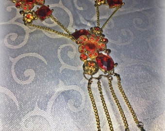 Orange and gold chain jewelry set, Lassoed in gold...with a touch of orange
