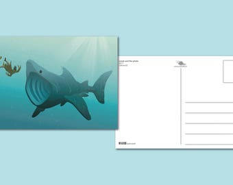 Jonah and the whale | Postcard printed illustration | Prophet Jonah