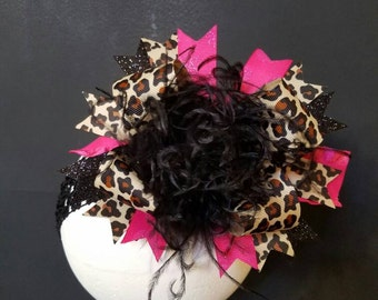 Leopard & Shocking Pink Over The Top Boutique Hairbow Ostrich Feather
