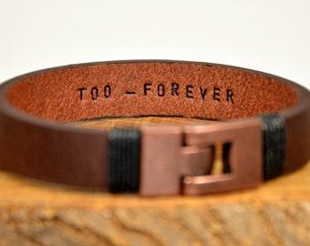 FAST SHIPPING, Men's Bracelet, Personalize Men Leather, Message Men Bracelet, Women Bracelet, Leather Him Bracelets, Custom Leather Bracelet