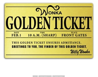 Golden ticket etsy willy wonka golden ticket printed plastic oompa loompa costume party chocolate factory pronofoot35fo Choice Image