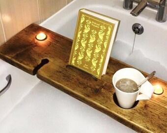 Bath Shelf - Bath Tray - Book Holder - Tablet Holder - Bath Board - Birthday Gift - Bath Caddy - Wine Holder - Beer Holder - Caddy
