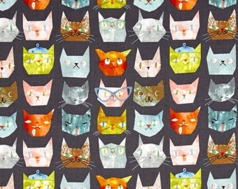 Smarty Cats Faces Grey For Windham Fabrics, Cat Pet Animal Lover, Kitty Heads, Cat Lady Print