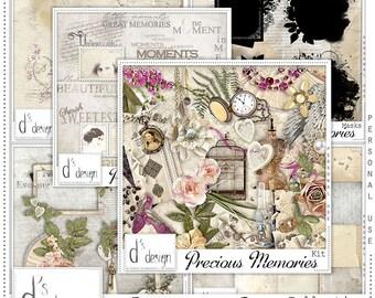 Precious Memories - Digital Scrapbooking Kit - Vintage - Scrapbook - Printable