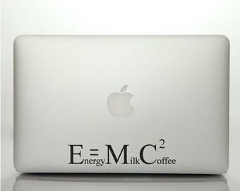 Macbook Decal Quote | Funny Laptop Sticker Quote | Coffee - E = m c squared | Scientific Macbook Sticker Quote