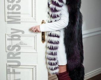Fashionable Real  Fox Mixed furs stole wrap. SagaFurs