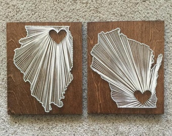 State string art with heart- MADE TO ORDER