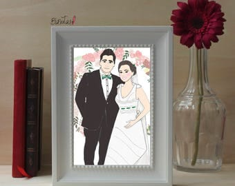 Portrait Wedding, custom illustration