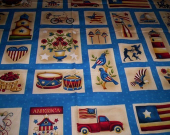 1 panel Libertyville from Color Principle for Henry Glass & Co fabrics Patriotic folk blocks