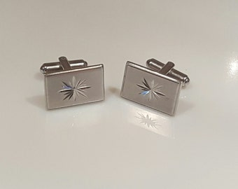 Mid-century modern cufflinks with atomic starburst design