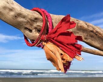 Sari silk bangle bracelet, silk tassel bracelet, wire wrapped bohemian bangle, artisan boho recycled sari silk jewelry, tassel bangle