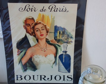 French Advertising Poster from 1954 - Perfume ads Bourgeois - Soir de Paris - Paris poster