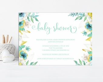 Mint and Gold Baby Shower Invitation, Baby Shower Invite, Shower Invitation, Gold Glitter, Printable Invitation, Gender Neutral, Printable