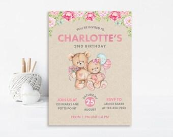 Pink Bear Birthday Invitation, Bear Invitation, Bear Birthday, First Birthday Invitation, Printable Invitation, Teddy Bear Invitation, Bear