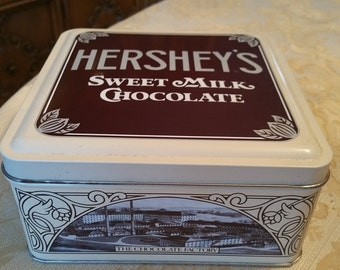 Hershey's candy tin, vintage collectible limited edition Hershey's milk chocolate brown tin canister, 90s Canister Factory Homestead History