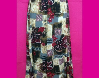 Vintage Samantha Lee Burgundy Black Gray Tropical Floral Print Slinky Skirt Size Medium