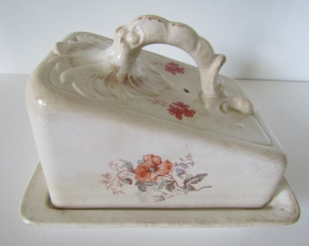 Large Wessel Antique Porcelain Lidded Cheese Dish-1755