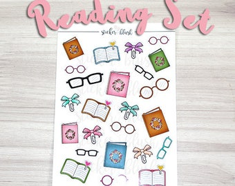 Books Reading Planner stickers Matte or Glossy -  for use with Erin condren planner  -#04