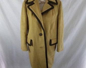 Vintage 1970s Lodenfrey Austrian Mohair Mod Coat Beige Medium