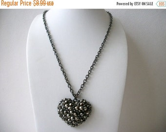 ON SALE Vintage Silver Tone Chunky Puff Heart Necklace 12017