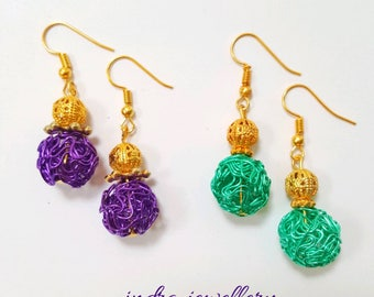 Wire earrings, wire beaded earrings, wire work earrings, colorful earrings, wire jewelry, wire beaded jewelry, wire work jewelry