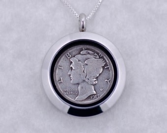 100th Birthday Gift - 1917 Silver Mercury Dime Coin Locket Necklace Jewelry - Birthday Gift for Mother - Birthday Gift for Grandma