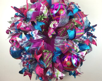 Christmas Wreath, Christmas Hot Pink Wreath, Whimsical Christmas Wreath, Fun Whimsical Wreath, Wall Wreath, Door Wreath, Christmas Decor