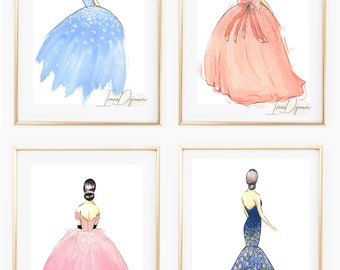 Signorina Fashion Illustration Print Ball Gown Fashion Sketch Chic Desk Art Fashion Wall Art Print Fashion Poster Vanity Print