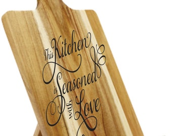 Tablet Holder - Engraved and Painted - Great For Mother's Day - This Kitchen Is Seasoned With Love
