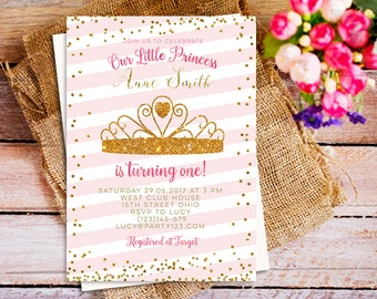 gold and pink first birthday invitation, princess birthday invitation, gold glitter invitation, girl birthday invitation, blush pink,