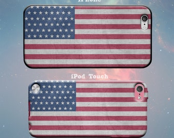 Vintage American Flag USA United States of America Rubber Case for iPhone 7 6s 6 Plus iPhone SE 5s 5 5c iPod Touch