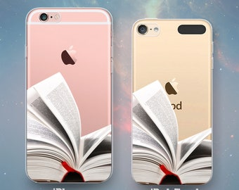 Open Book Pages Reader Reading Studying Student Book Lover Avid Reader Cool Clear Rubber Case for iPhone 7 6s 6 Plus SE 5s 5 5c iPod Touch