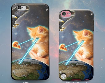 iPhone 7 Plus iPhone 7 iPhone 6s 6 Plus iPhone 5s 5 5c iPhone SE iPod Touch 6th 5th Gen Case Epic Kitten & Eagle in Space Battle for Pizza