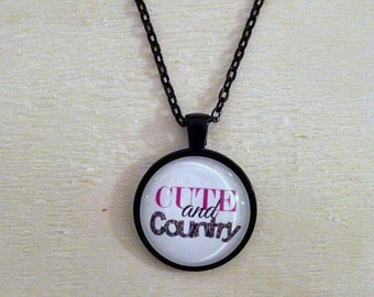 Cute and country glass dome necklace