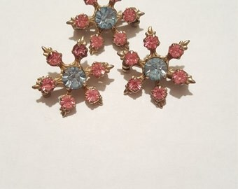 Vintage Lot of 3 Pink and Blue Rhinestone Pin Brooch