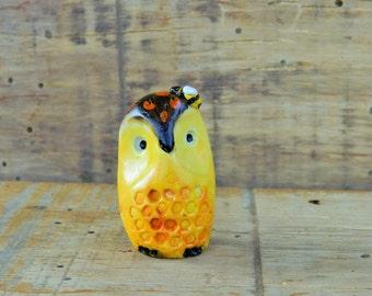 owl polymer clay owl figurine with honey bee honeycomb owl
