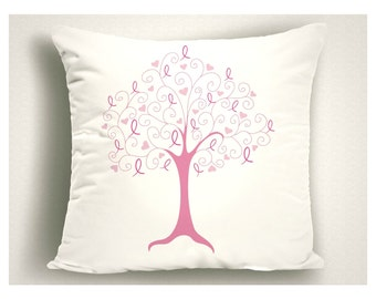 Breast Cancer Ribbon Tree Pillow, Breast Cancer Gift Tree of Life, Throw Pillow Breast Cancer Ribbon Tree