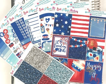 Red White and Blue!  - 7 Sheets weekly decorating kit for your Erin Condren Life Planner!