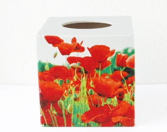 Tissue box cover wood Red poppies decor Kleenex box cover Tissue holder Napkin holder Kleenex cover Bedroom stand box Tissue storage box