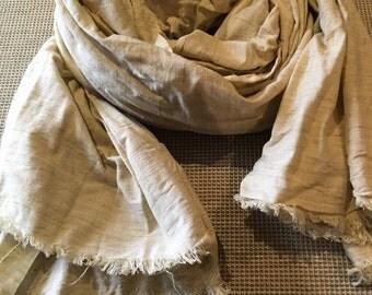 Pure linen cotton scarf/ natural raw flex cotton scarf/ natural brige linen scarf/ raw stonwadhed cotton scarf