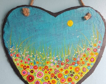 """Uplifting, summer floral meadow scene hand painted 8x8"""" slate heart."""