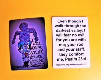 Scripture Doodle Mini Bible Memory Verse Card of Encouragement/Psalm 23:4/I will fear no evil/Knight battling evil/The 23rd Psalm/Scripture