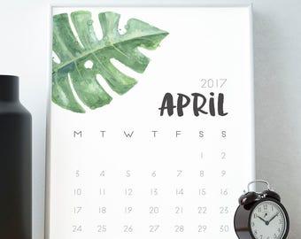 April 2017 Calendar, Printable, Wall Art, Watercolour, Botanical, Minimalist, Graphic Design, A4, 8x10, Print, Minimalist, Month Planner