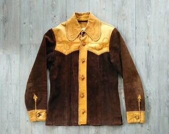 Vintage 1960s Hanmade Pioneer cowboy leather coat/shirt