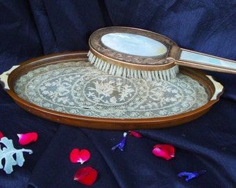 Vintage Celluloid Vanity Lace Tray and Brush set
