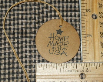 "25pcs 1.75"" Home Made in the USA Circle Hand Stamped Primitive Hang Tags with Attached Twine Coffee Stained String Black Ink Stamp"