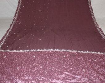 fabric by yard, art deco fabric, sari ,indian saree ,veil, stole ,hijab ,used sari ,antique fabric, Indian curtains, decoration fabric